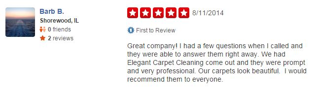 Elegant Carpet Cleaning - Review - Yelp - July 2014 - 5 Star