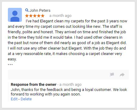 Elegant Carpet Cleaning - Review - Google - January 2015 - 5 Star